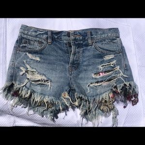 Free people lace detail jean shorts